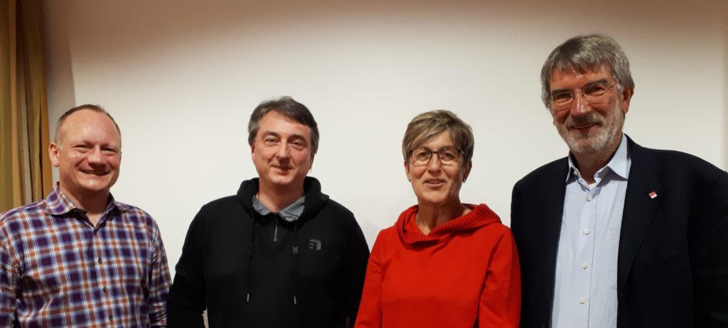 Vorstand und Kassenprüferin: Ingo Gugisch, Martin Metzger, Rita Maidl und Peter König – es fehlt Manfred Rosenberger